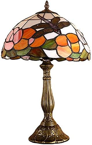 SXCDD Lámparas de Escritorio para Office Tiffany Lámpara de Mesa de 12 Pulgadas Vintage Lámpara de Mesa pequeña, lámpara de Noche con vitrales Hechos a Mano Lámpara de Zinc