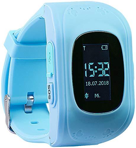 TrackerID Telefon Uhr: Kinder-Smartwatch mit Telefon- & SOS-Funktion, GPS-/LBS-Tracking, blau (GPS Tracker)