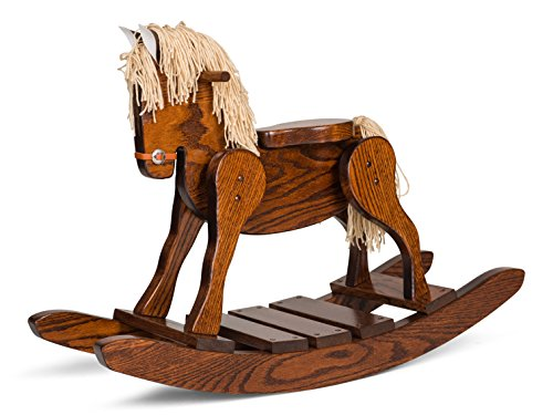 """Amish Made Wooden Rocking horse for toddlers and kids Housewarming gift decoration Hand Crafted in the USA Made of solid oak Size: 32"""" W x 16""""D x 18""""H."""