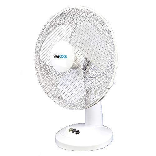STAYCOOL 16in / 40cm Desk Fan / 3 Speed Settings / 90 Degree Oscillation/Adjustable Vertical Tilt / 50w / Mesh Safety Grill/Quiet Motor/Low Noise/Table Fan / F10021WH / White