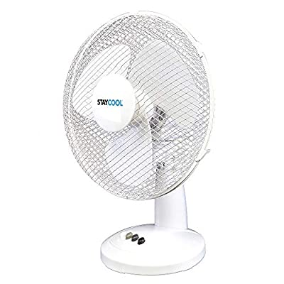 STAYCOOL 16in / 40cm Desk Fan / 3 Speed Settings / 90 Degree Oscillation/Adjustable Vertical Tilt / 50w / Mesh Safety Grill/Quiet Motor/Low Noise/Table Fan / F10021WH / White