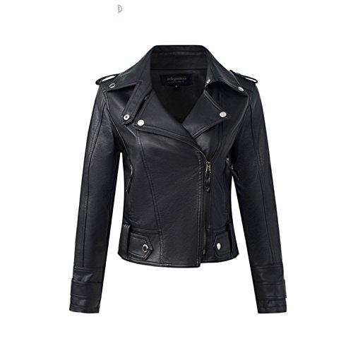 Ivan Johns Warme Mode PU Leder Jacke Damen Slim Kurz Motorradjacken Weiches Leder Mantel Lady Winter Basic Oberbekleidung - Schwarz - Medium