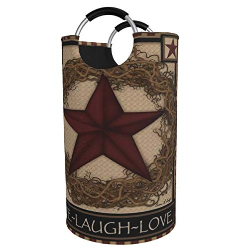 Kiuloam Country Primitive Barn Star Wreath Live Laugh Love 82L X-Large Storage Basket Collapsible Organizer Bin Round Laundry Hamper for Nursery Clothes Toys