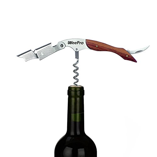 WeePro Waiters Corkscrew Travel Size - Double Hinged Wine Corkscrew Bottle Opener with Foil Cutter - Heavy Duty Quality with Stainless Steel and Waterproof Anti-Slip Rosewood Handle