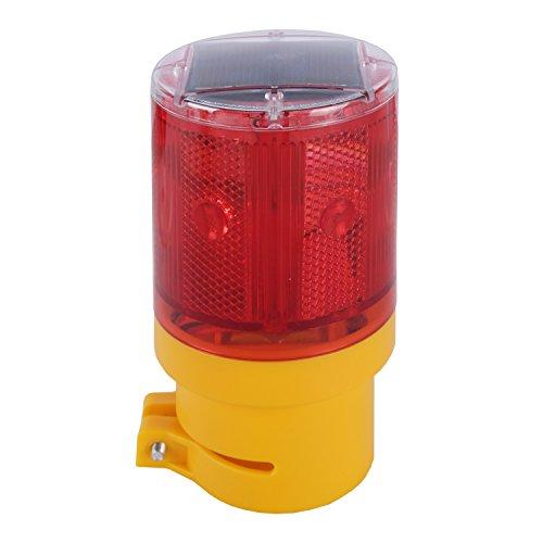 Qooltek Solar Powered Emergency LED Strobe Warning Light Wireless Garden Lamp Flashing Barricade Safety Sign Road Construction Signs Flash Traffic Lights Flicker Beacon Lamps (Red)