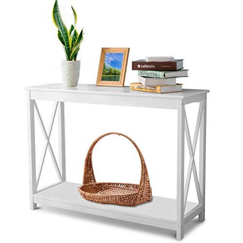 KKLOVEU Beistelltisch Weiß aus Holz und Metall Für Kücheneingang Telefontisch Lagerregal Multifunktionales Tischregal