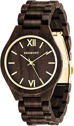Oliver Redmont Reloj de Madera para Hombres Classic Collection Gold Edition