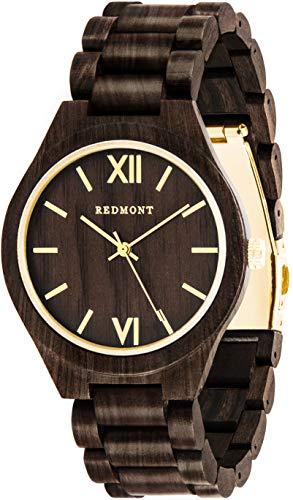 OLIVER REDMONT Orologio in legno| GOLD EDITION | Orologio realizzato in autentico legno di sandalo | Esclusiva confezione regalo in legno | Prodotto naturale | Orologio da polso di legno da uomo