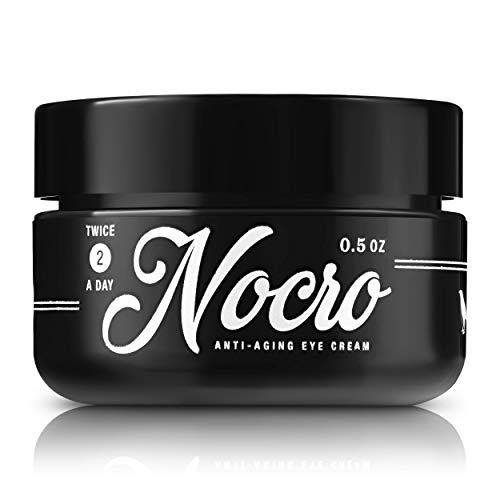 Nocro For Men Best Anti-Aging Eye Cream | Lightweight Eye Balm for Dark Circles, Crows Feet, Puffiness, Wrinkles, Eye Bags | w/ Green Tea, Vitamin C, Vitamin E, Hyaluronic acid | .5 ounce, Unscented