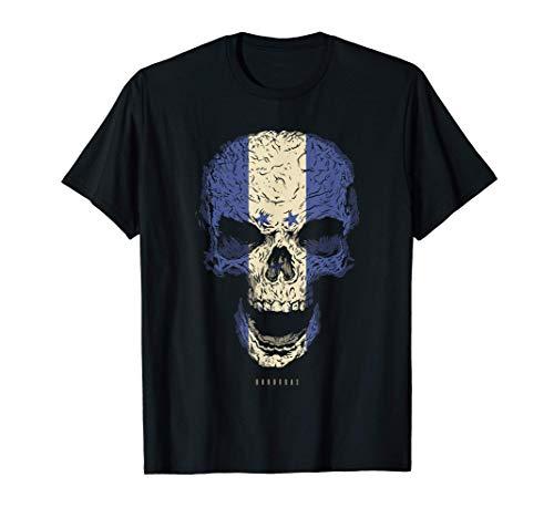 Camiseta Calavera con Bandera de Honduras Cráneo Camiseta