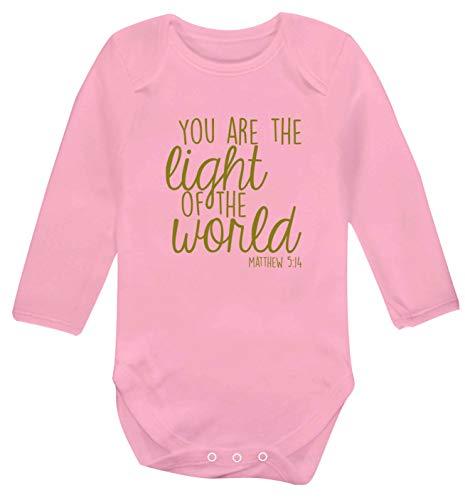 Flox Creative Gilet à manches longues pour bébé Inscription You are the light of the world - Rose - XS