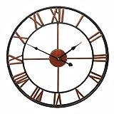 AUSUKY Reloj de pared grande vintage con números romanos y números romanos, de hierro, para decoración del hogar, 45 cm