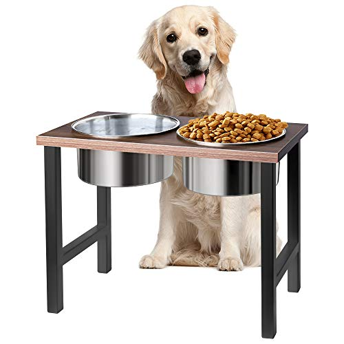 AISHNA Erhöhter Haustier Futterautomat rutschfeste Hundenapf aus Edelstahl, Doppel-Hundenapf - Stand-Up-Hundenapf mit Halterung.Halterung. Größe : Länge * Breite * Höhe = 40cm* 21cm * 33cm