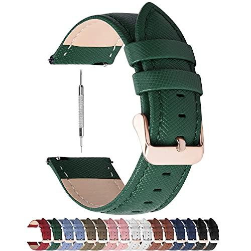 Fullmosa Colores para Correa de Reloj, Cross Piel Correa Huawei Samsung Correa/Banda/Band/Pulsera/Strap de Recambio/Reemplazo 14mm 16mm 18mm 20mm 22mm 24mm,Verde Oscuro 18mm