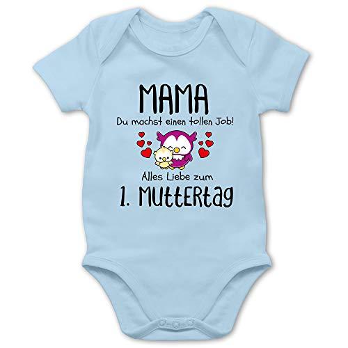 Muttertagsgeschenk Tochter & Sohn Baby - Mama du machst einen tollen Job alles Liebe zum 1. Muttertag schwarz - 12/18 Monate - Babyblau - Baby_Body_kurzarm_BZ10 - BZ10 - Baby Body kurzarm für Jungen