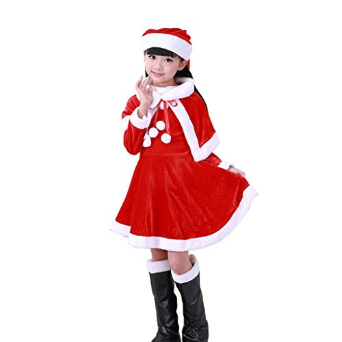 XL- Dames Kerst Kostuum Santa Jurken +Sjaal+Hoed+Laarzen 4 stks Outfit Kleding Suitable for 100-110cm