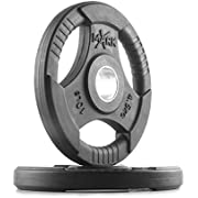 XMark Fitness Premium Quality Rubber Coated Tri-grip Olympic Plate Weights - Sold in Pairs and Sets