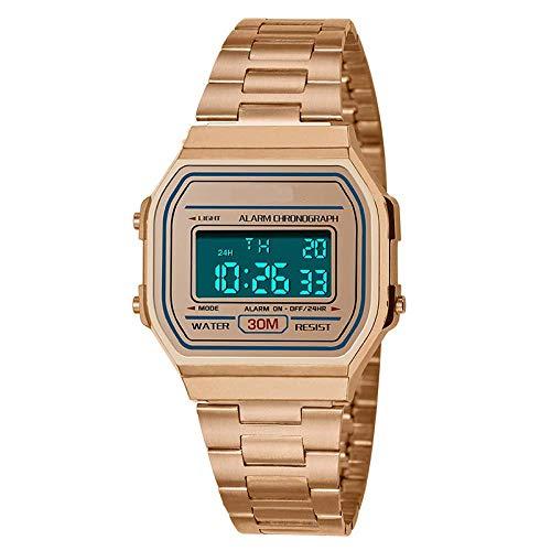 AYDQC Tendencia de la Moda de los Hombres de Negocios al Aire Libre Reloj Luminoso Impermeable de los Deportes de la Personalidad Pantalla Digital Square Reloj electrónico fengong (Color : Rose Gold)