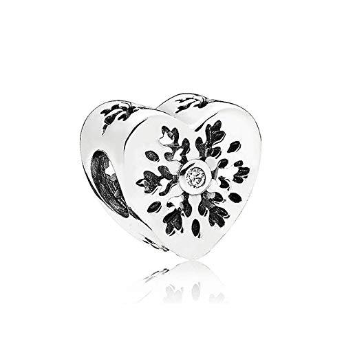 LYDXD Fit Original Pandora Armbänder 925 Sterling Silber Charm Perle Schneeflocke Herz Frauen Armreif DIY Schmuck Geschenk