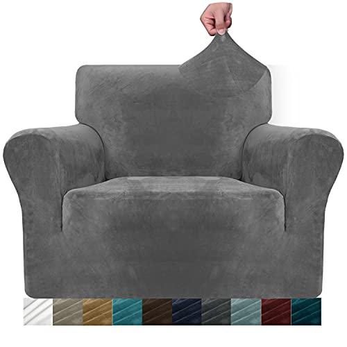 MAXIJIN Dicke Samt Stuhlbezüge für Sessel Stretch rutschfeste Sofabezug 1-Sitzer Hunde Katze Haustier Wohnzimmer 1-teiliger Couch Protector Stuhl Schonbezug (1 Sitzer, Grau)