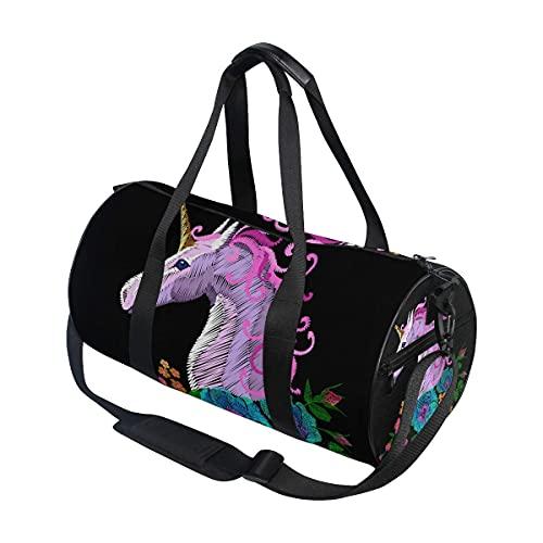 Borsone da palestra, rosa viola ricamato, con unicorno, papavero, rosa e fiori, borsa da viaggio per sport e palestra, con scomparto per scarpe e tasca bagnata, per donne o uomini