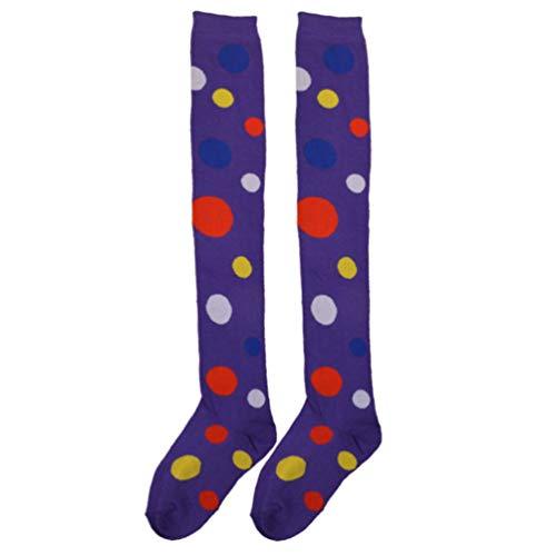 Amosfun Clown-Kostümsocken Overknee Socken Fun Polka Dot Strumpf für Weihnachten Karneval Party Erwachsene Cosplay Dance Dress Up (schwarz), violett, 53 x 6 x 0.2cm