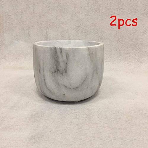 ZXL 2PCS White Flowerpot Keramik Interieur schafft einfache Home Green Pflanze Übergroße Sukkulente Blumentopf mit Tablett, Moderne dekorative Marmor Muster Pflanzen Pflanzer Kleine Keramik Topf
