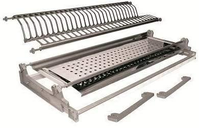Escurreplatos de acero inoxidable con bandeja, estructura ajustable, 56 cm