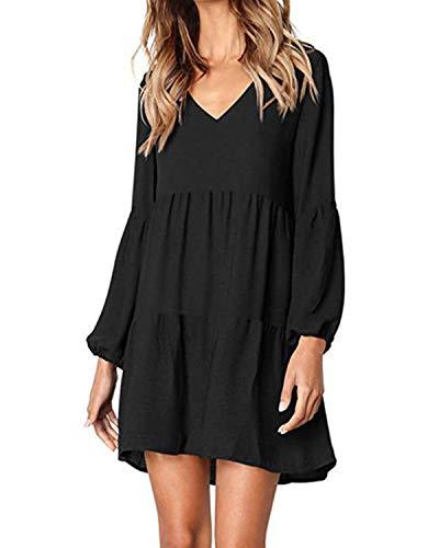 kenoce Damen Kleid Langarm V-Ausschnitt A-Linie Kurze Mini Kleider Lose Swing T-Shirt Kleid Blusen Tunika A-Schwarz M