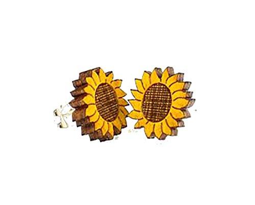 Pendientes de tuerca con diseño de girasol – Corte láser de madera cosida de forma sostenible