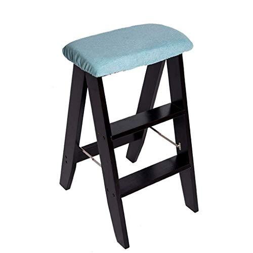 MFWallMirror Opvouwbare kruk met inklapbare houten houten mini-trap met ladder voor keuken, bibliotheek, kantoor, passage, 3 kussens, afneembaar
