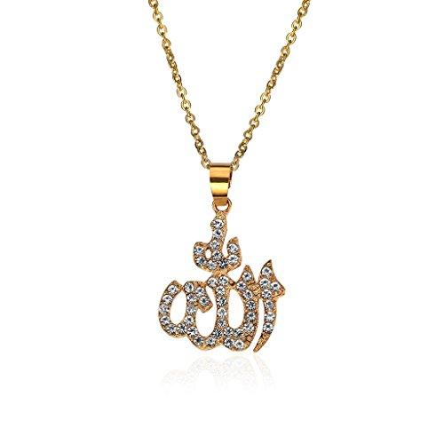 Lamdoo Halsketten Für Frauen Arabische Muslimische Frauen Gold Strass Islamischer Gott Allah Anhänger Halskette Schmuck