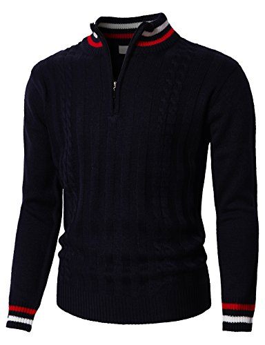 H2H Men's Mock Neck 1/4 Zip Sweater Relaxed Fit with Color Lined Navy US L/Asia XL (KMOSWL0196)