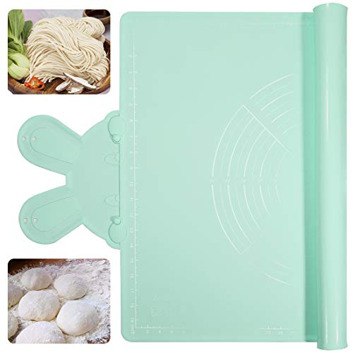 Silicone Pastry Mat Thickening, Large, Pie Crust Mat Non-Stick, Dough Rolling Mat with Scale Non-Slip,Baking Pie Crust, Pizza Cookies BPA Free(Green)