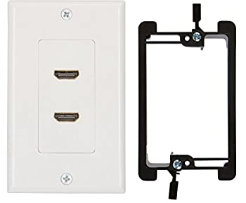 Buyer s Point HDMI Wall Plate [UL Listed]  2 Port  Insert 6-Inch Built-in Flexible Hi-Speed HDMI Cable with Ethernet- Decora Style 2-Piece Pigtail Jack/Plug for Dual Outlet Port  White Kit 2 Port
