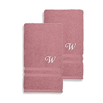 Authentic Hotel and Spa Omni Turkish Cotton Terry Set of 2 Tea Rose Hand Towels with White Script Monogrammed Initial Pink/K
