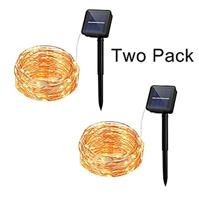 8-Modes Solar Powered String Lights, 100 LED 33ft Long Warm White, 2 Pack Waterproof Fairy String Copper Wire Lights