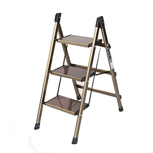 ASDAD Krukken Ladder Twee-staps Ladder Driestaps Ladekast Ladder Multi-functie Kleine Ladder Huishoudelijke Folding Ladder Plank (Kleur : Goud, Maat : 47,5 * 67 * 88cm)