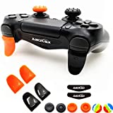 L2 R2 Triggers Ps4 (2 Pairs Trigger Extender, 6Pcs Thumbstick Grips, 2 Pairs LED Light Bar Decal) for Ps4 Dualshock Controller