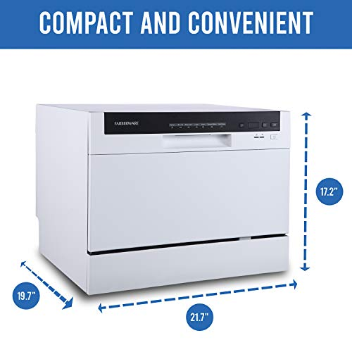 Product Image 6: Farberware Professional FCD06ABBWHA Compact Portable Countertop Dishwasher with 6 Place Settings and Silverware Basket, LED Display, Energy Star, White