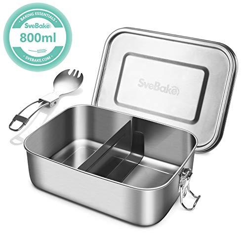SveBake Lunchbox Edelstahl Auslaufsicher - 800ml Brotdose aus Metall mit fächer - Lunchbox Geeignet für Schule, Kinder & Erwachsene, inkl. Besteck