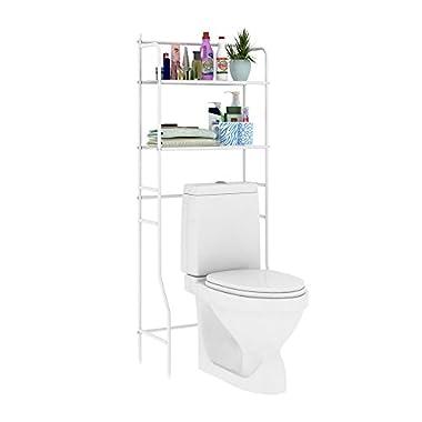 HOME BI 2-Tier Over the Toilet Bathroom Spacesaver, Free Standing Metal Bathroom Shelf Storage Shelf Unit, Anti-rust,White