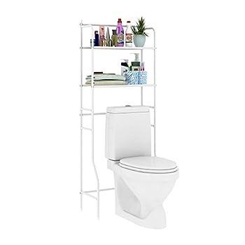 HOME BI Over The Toilet Storage Bathroom Spacesaver Free Standing Metal Bathroom Shelf Storage Shelf Unit Anti-Rust,White B