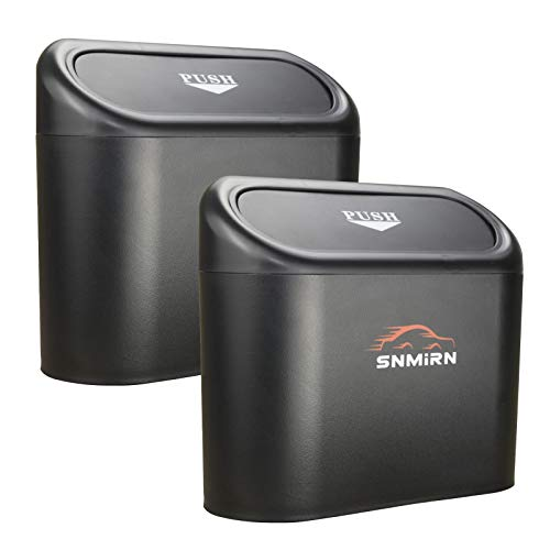 Portable Hanging Mini Car Garbage Can,Wastebasket Trash Can with Lid, Automotive Mini Trash Bin Holder Garbage Can, Plastic Desktops Trash Can (Black)