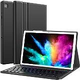 Earto Tastatur Hülle für Samsung Galaxy Tab A7 10.4 2020 - Abnehmbare Kabellose Bluetooth QWERTZ Tastatur mit Hülle für Samsung Galaxy Tab A7 10,4 Zoll 2020 T500 / T505 / T507, Schwarz