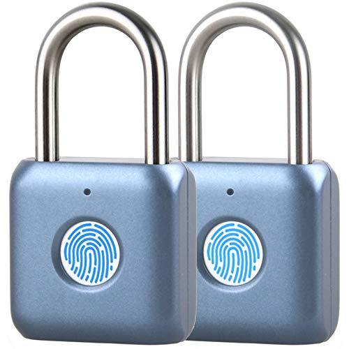 Fingerprint Padlock, 2 Pack Jelava Security Anti-Theft Fingerprint Lock Easy to Use, Smart Padlock with Keyless Biometric Lock for Locker, Luggage, Gym, Suitcase, Bags and Box (Blue)