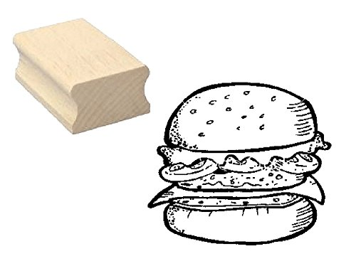 Stempel houten stempel motiefstempel « HAMBURGER » scrapbooking - embossing fastfood gastro knutselen