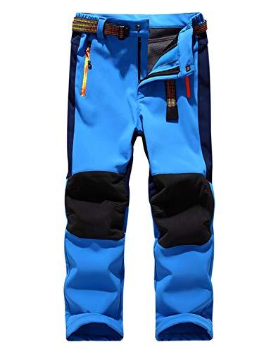 Echinodon Kinder Softshellhose mit Fleecefütterung Hose Wasserabweisend Winddicht Atmungsaktiv Warm Funktionshose Jungen Mädchen Sporthose Wanderhose Blau XL