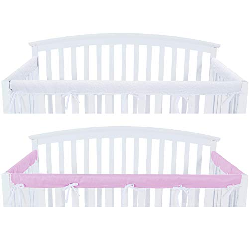 3 - Piece Crib Rail Cover Protector Safe Teething Guard Wrap for Standard Crib Rails, Fit Side and Front Rails, Lavender/White, Safe and Secure Crib Rail Cover.