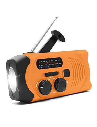 防災ラジオ 手回しラジオ 緊急用 AM/FM対応 2000mAh ソーラー充電 USB充電 多機能 ラジオライト 小型 軽量 震災 津波 台風 停電 防災対策 (3WAY充電可能・IPX63防水 グリーン) (オレンジ)